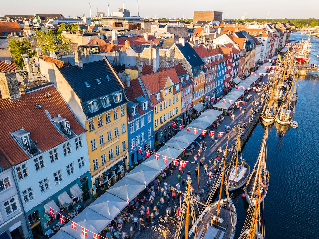 Nyhavn New Harbour canal and entertainment district in Copenhagen, Denmark