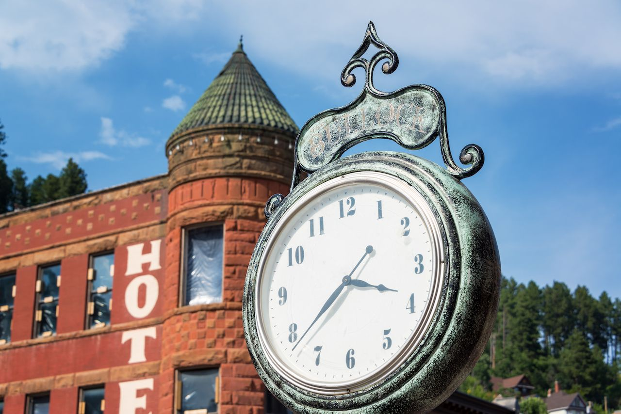 Old historic clock in the old west town of Deadwood, South Dakota