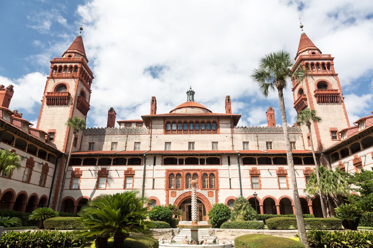 Ornate tower and details of Ponce de Leon hotel now flagler college in St Augustine Florida