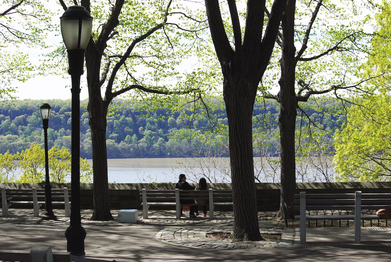 Overlooking the Hudson river in New York's Fort Tryon Park