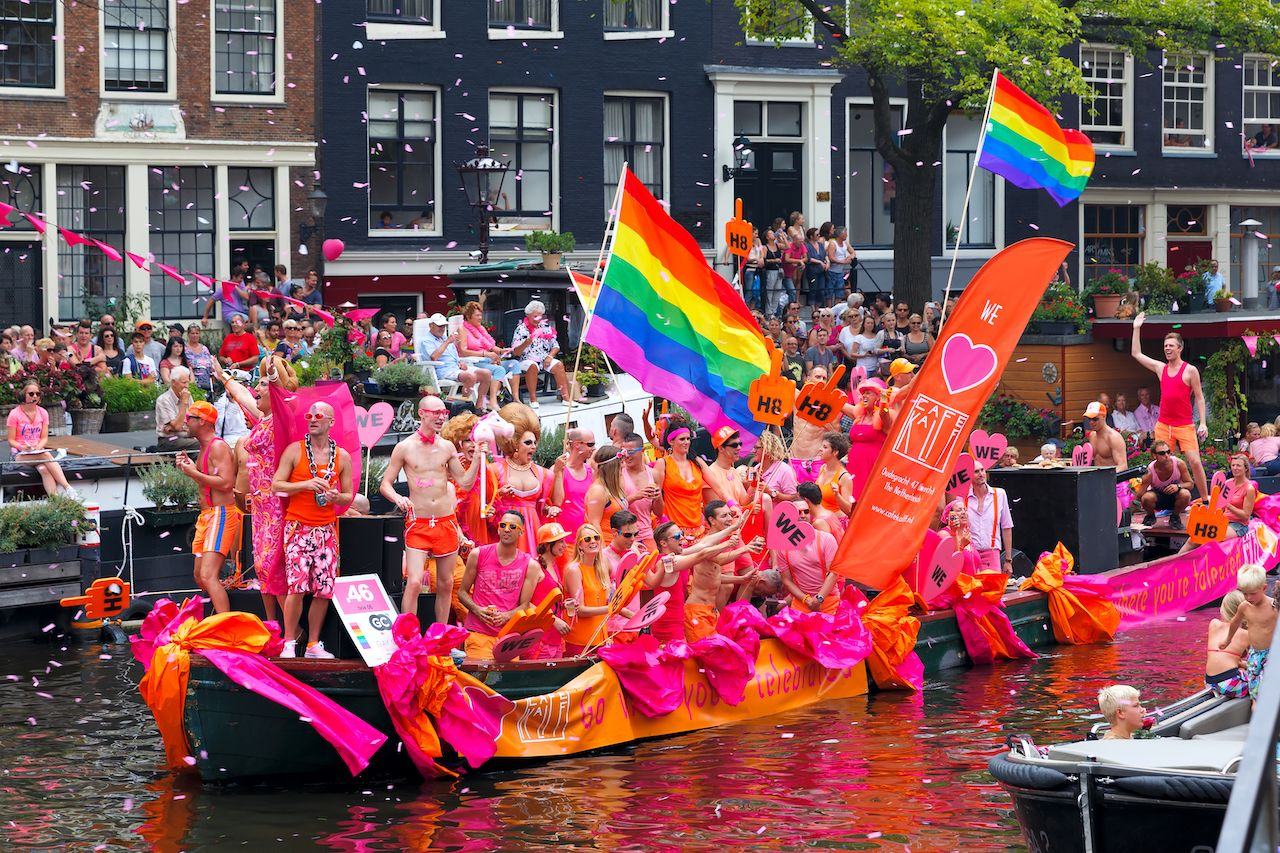 Participants at the famous Canal Parade of the Amsterdam Gay Pride 2014