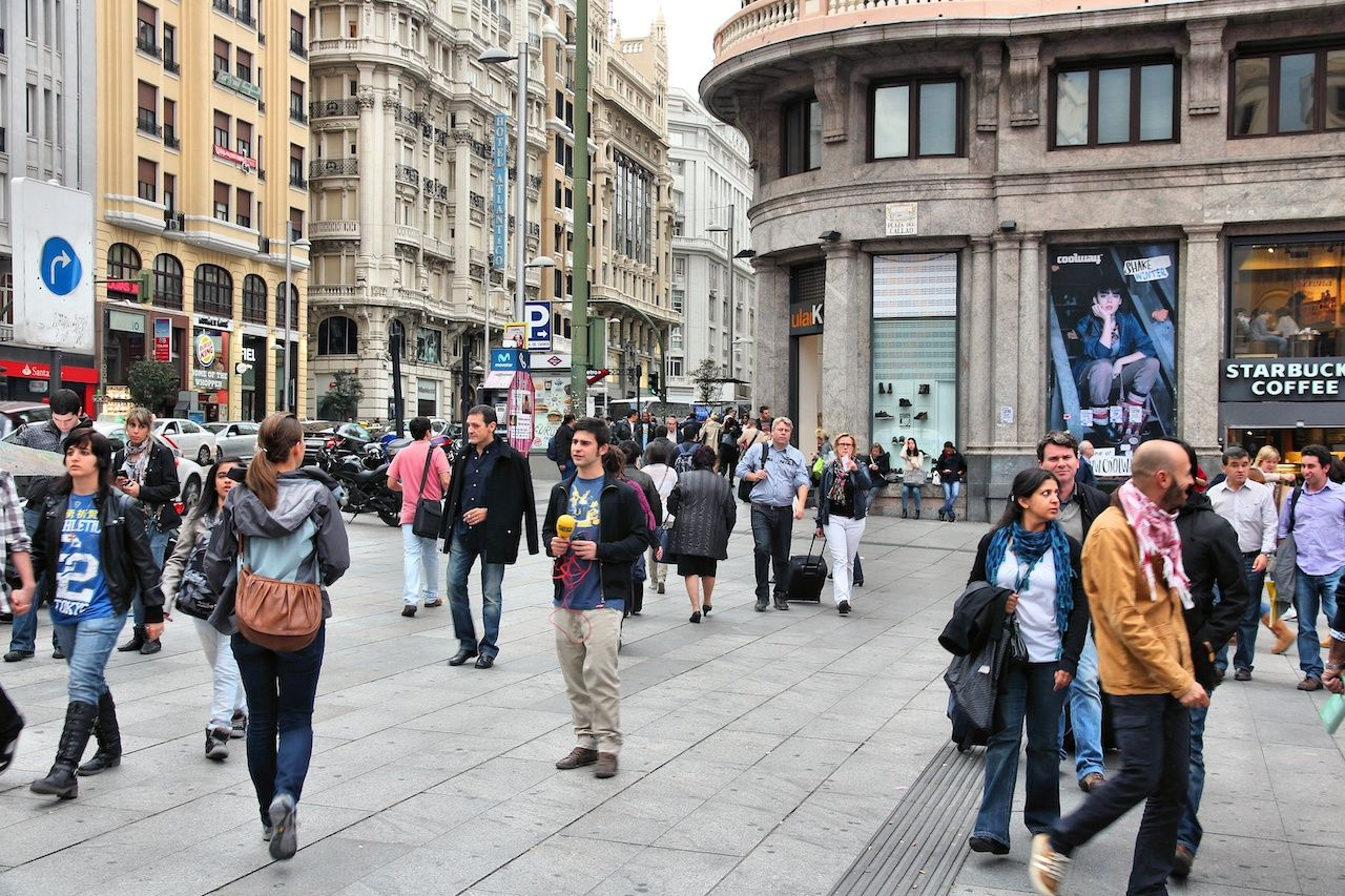 People shopping in downtown Madrid