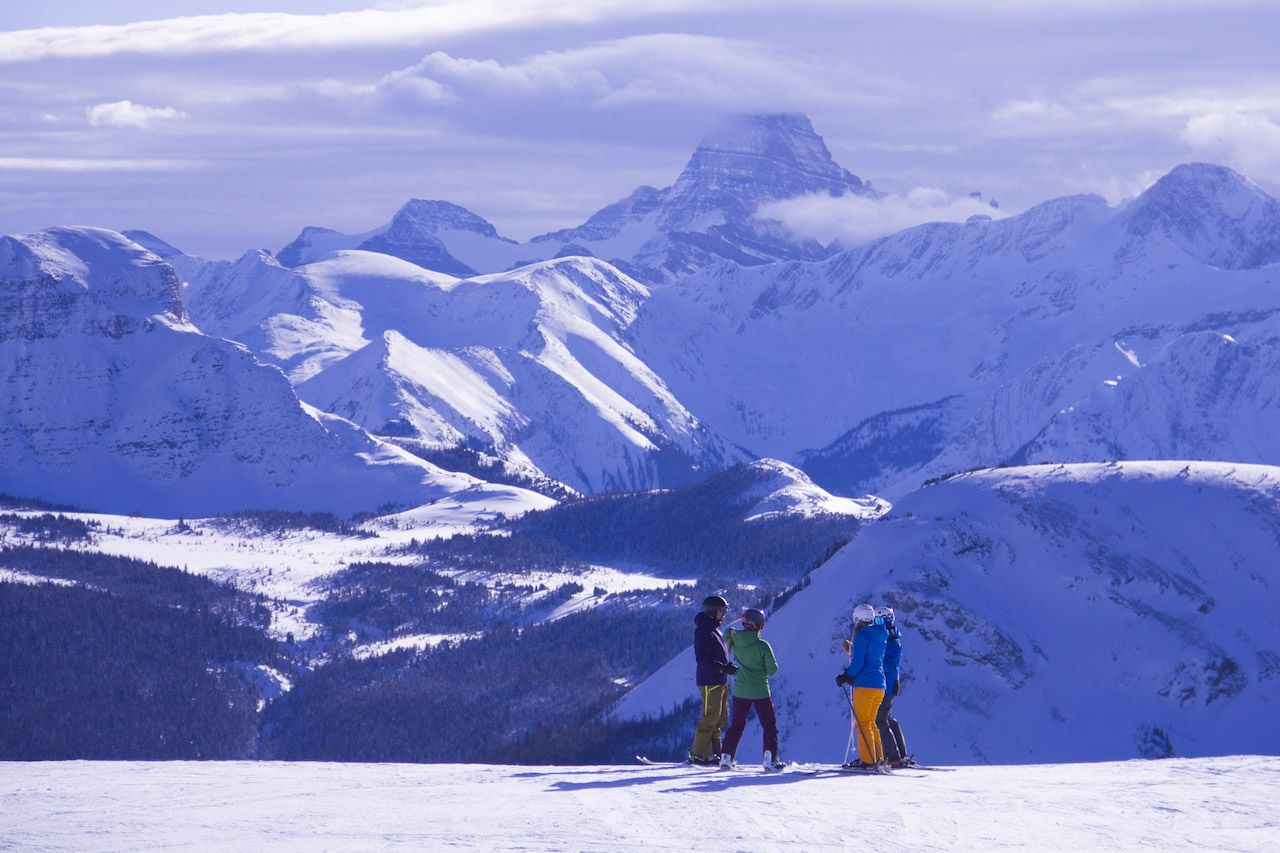 People skiing in Banff