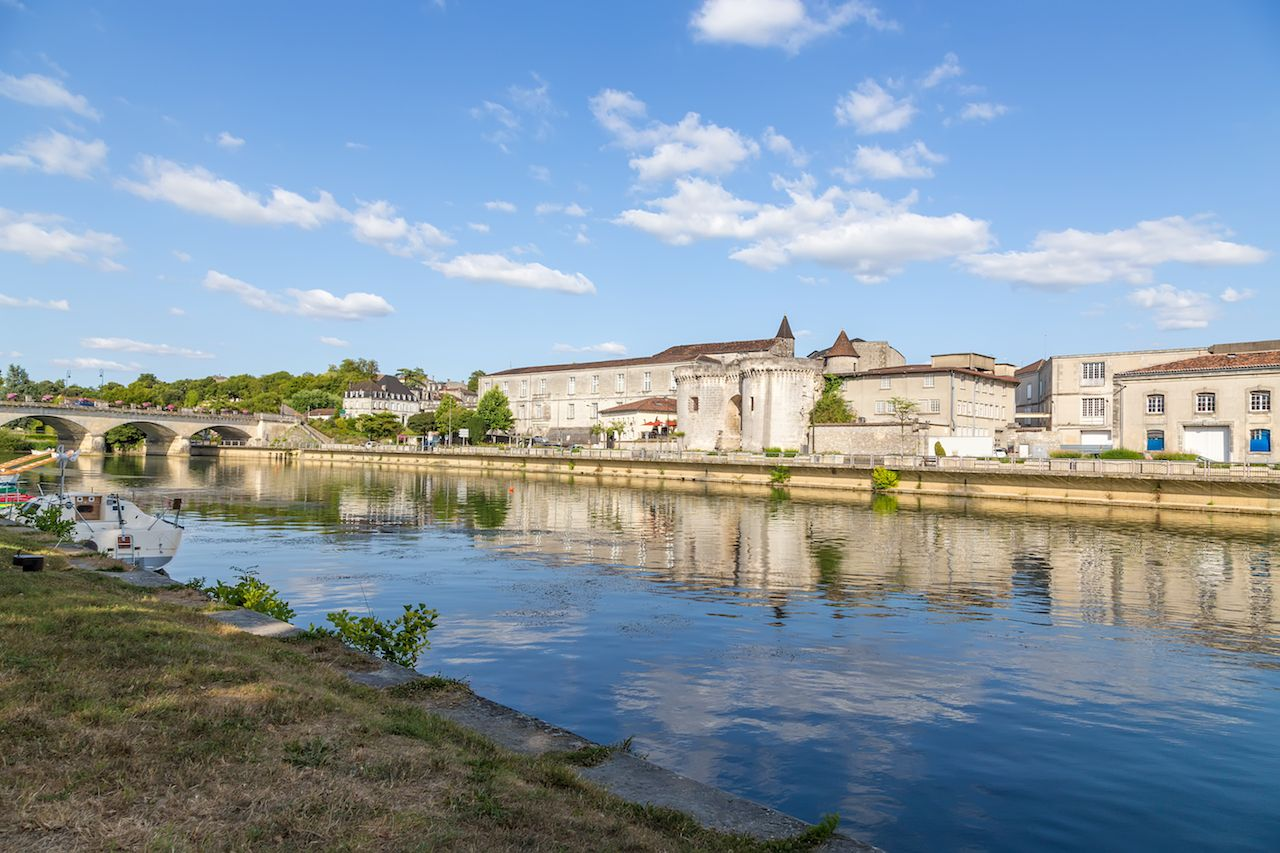 Quay of the Charente river in Cognac, France