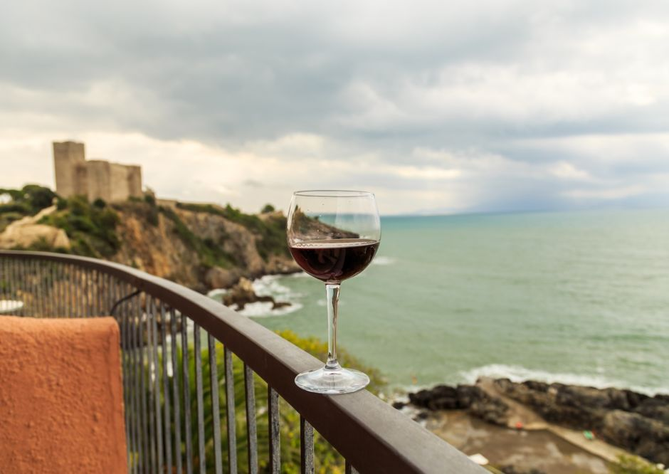 Red wine and ocean Tuscany Italy