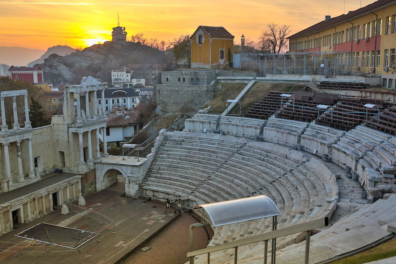 Remainings of Ancient Roman theatre of Philippopolis in Plovdiv at sunset