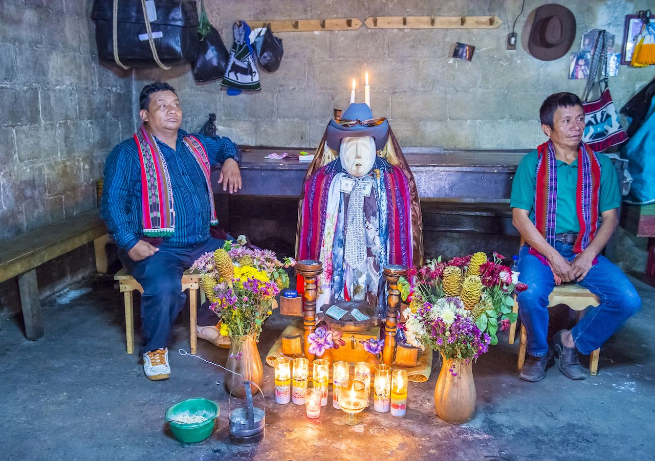 Shrine of El Maximon in Santiago De Atitlan, Guatemala