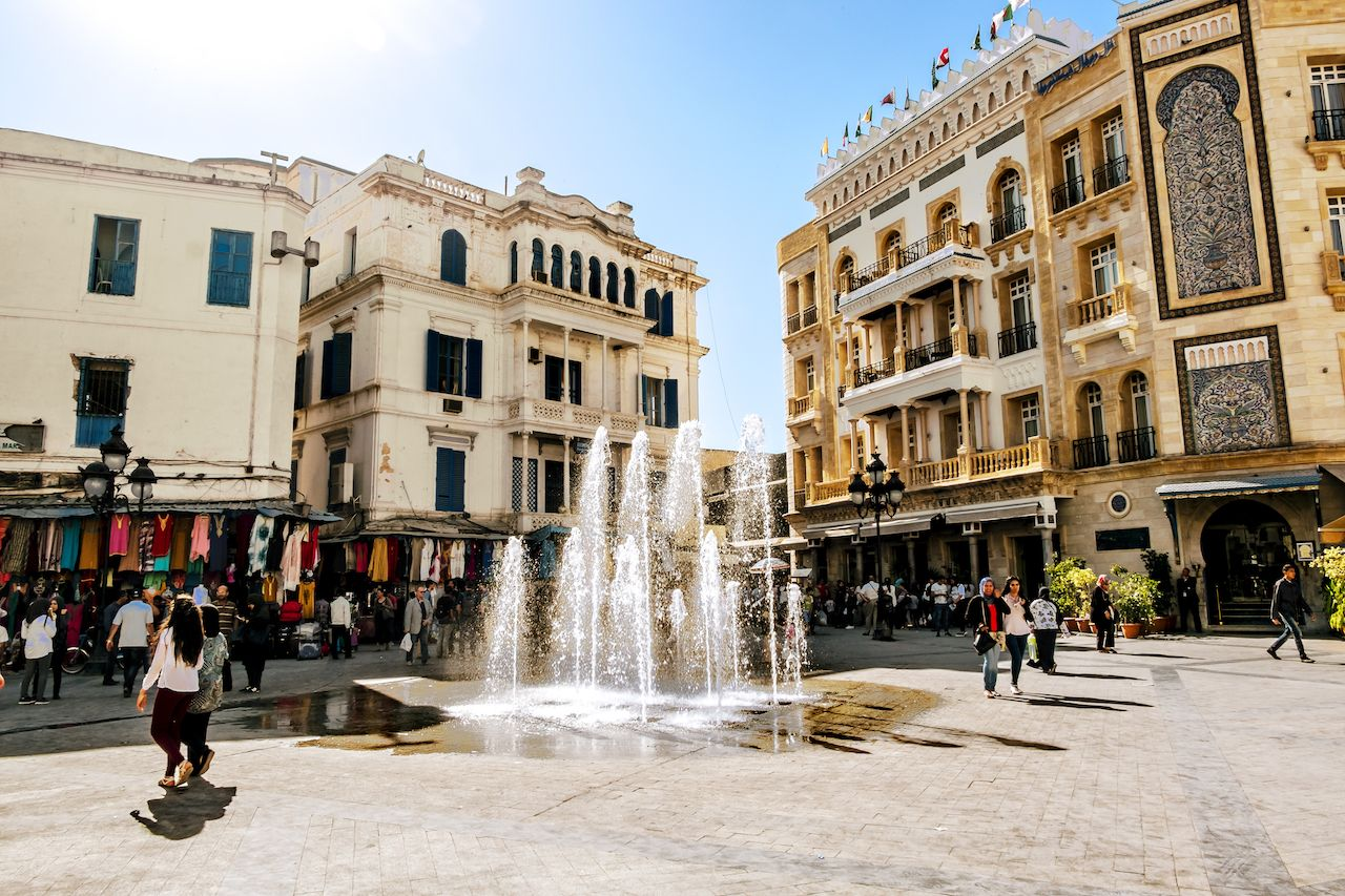 Square with a fountain in the Medina in the capital of Tunisia