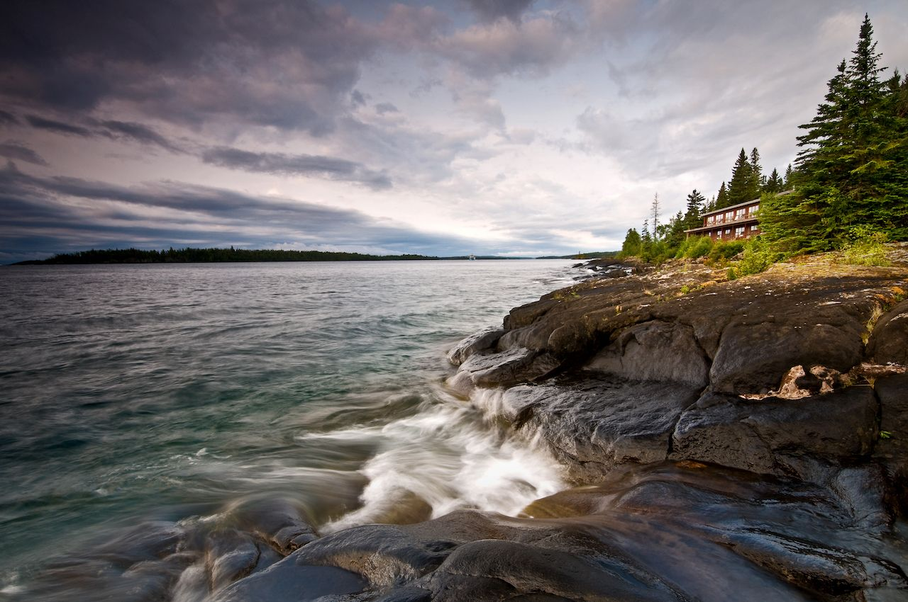 Sunset over Rock Harbor at Isle Royale National Park in Michigan