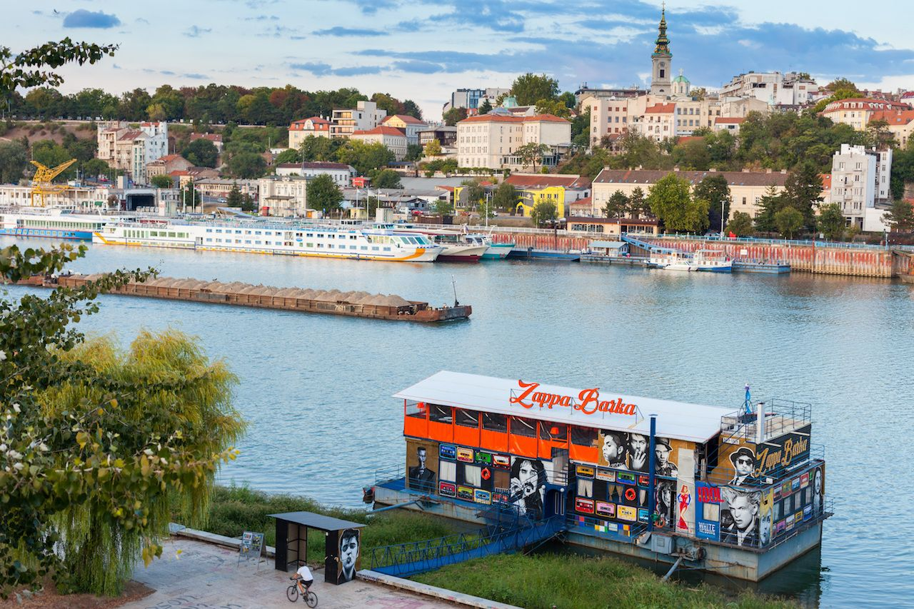 The Zappa Barka nightclub-barge moored lies on the Sava River