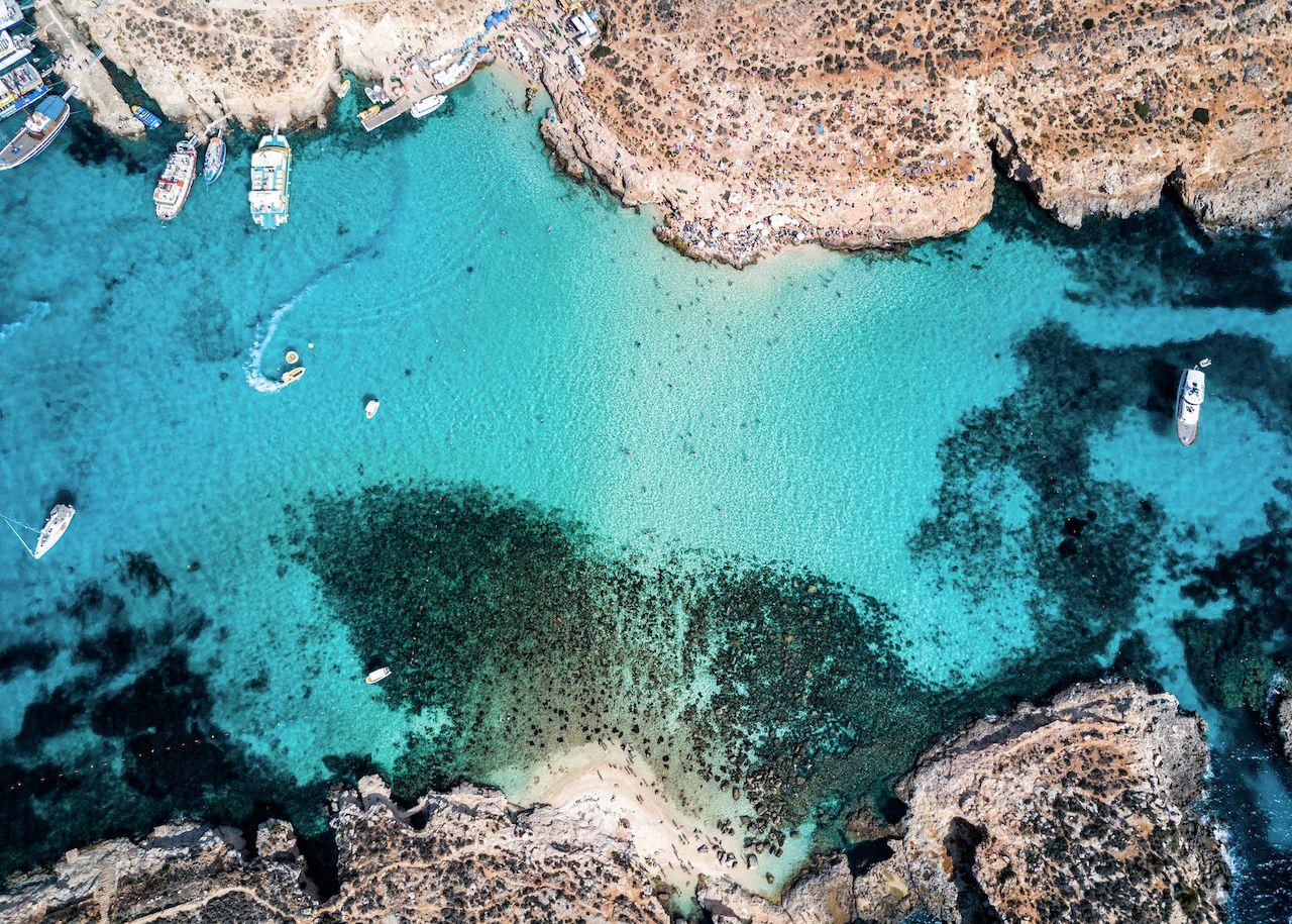 The famous Blue Lagoon in the Mediterranean Sea. Comino Island, Malta