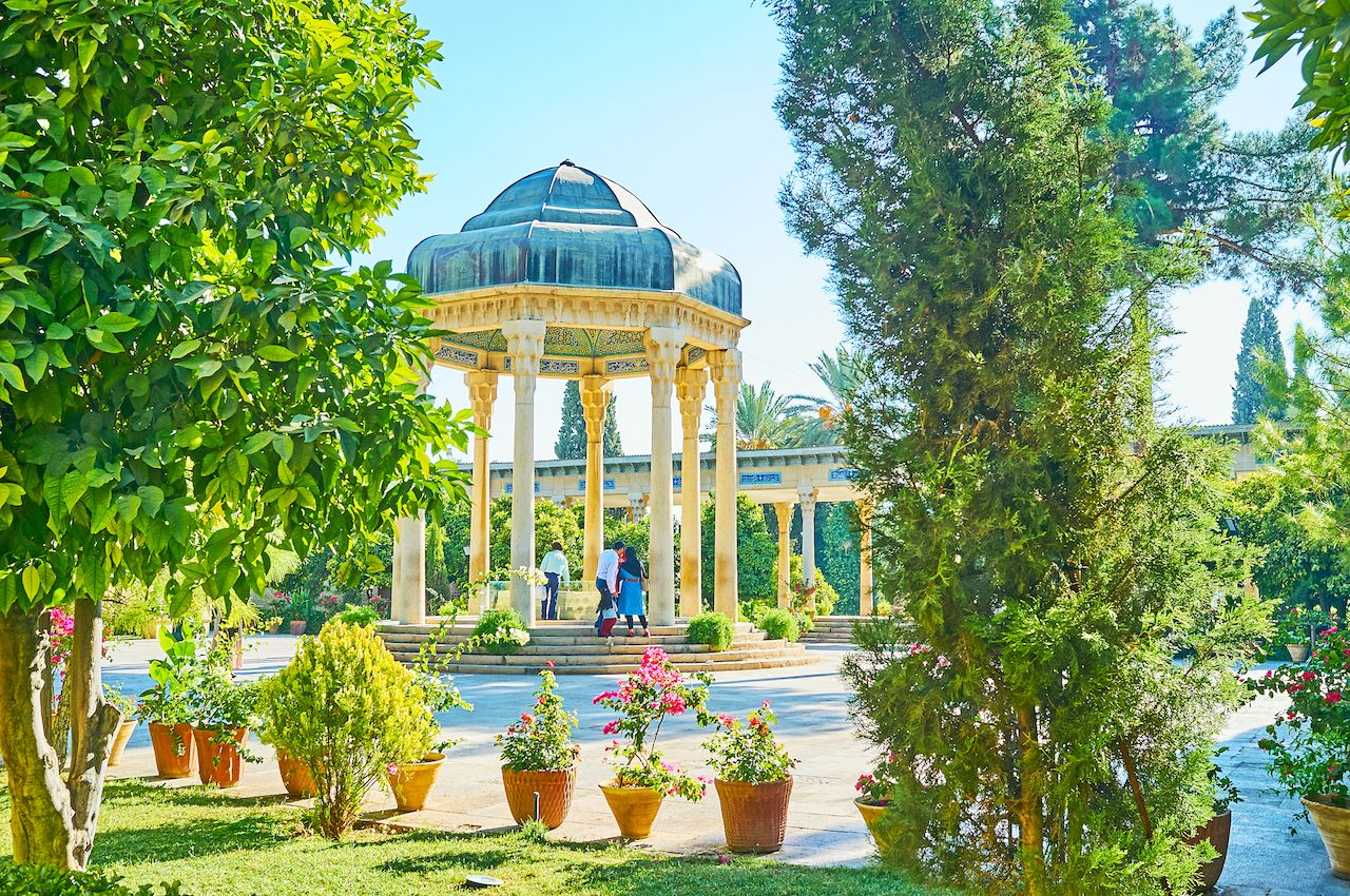 The scenic alcove of Hafez with Mussala Gardens around it, Shiraz, Iran