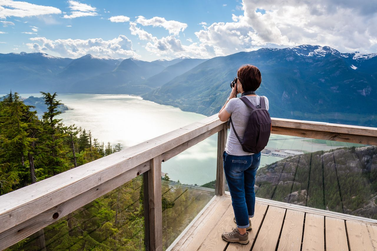 Tourist on a viewing platform looking at scenery