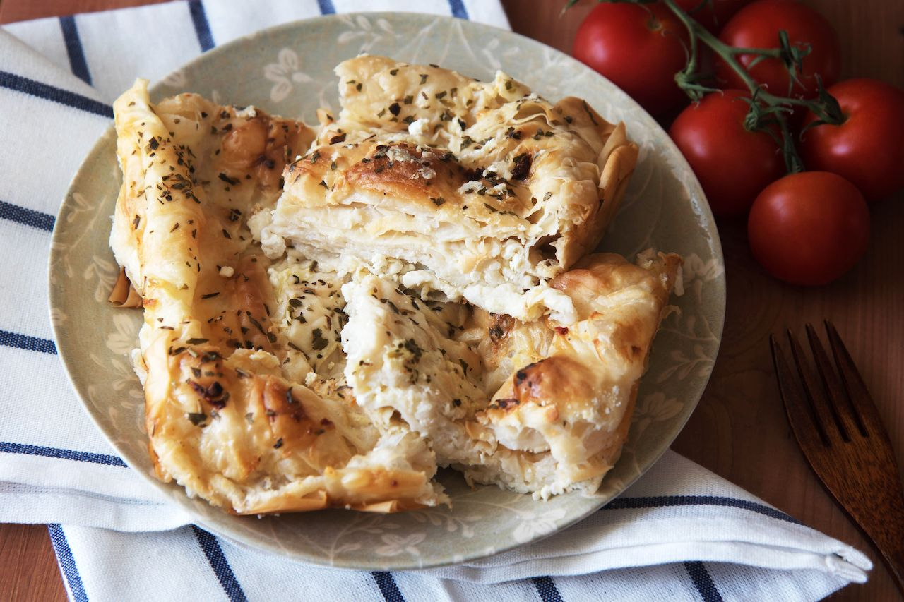 Traditional Bulgarian homemade Banitsa pie with feta cheese
