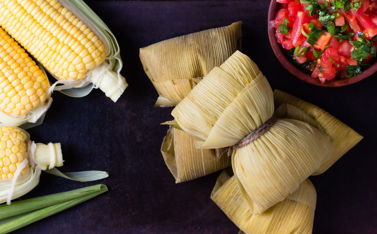 Traditional Chilean humitas made corn like tamales