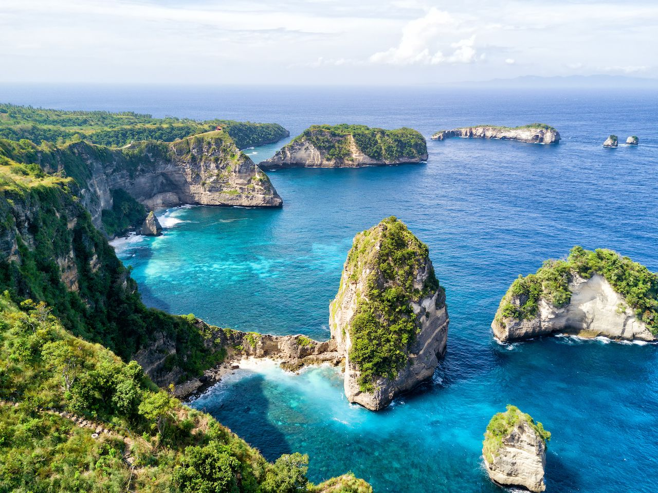 View from the Atuh Rija Lima shrine on Nusa Penida Island near Bali, Indonesia