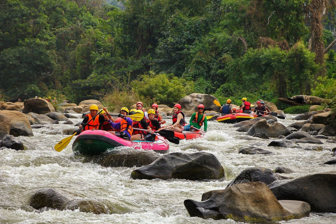 White water rafting on the rapids of river Maetang