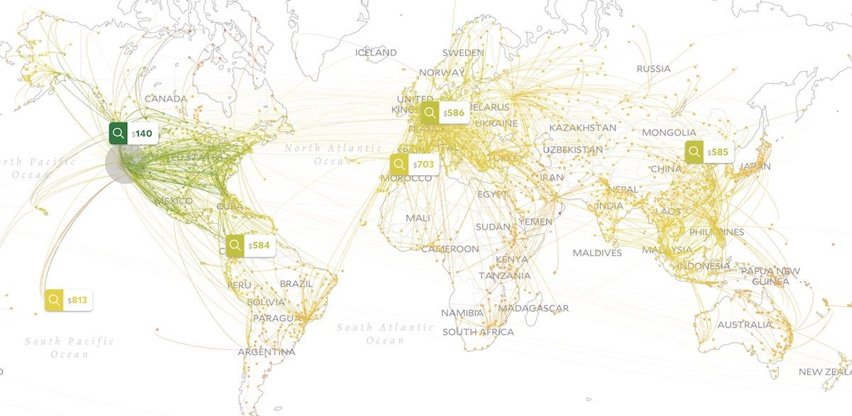 Cheap flights search tool map from MIT is the only website ...