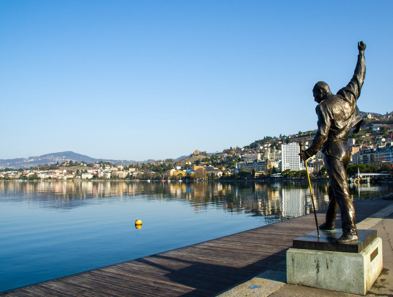 statue of Freddie Mercury, a british rockstar and the singer of Queen, locate at Geneva lake, Montreux