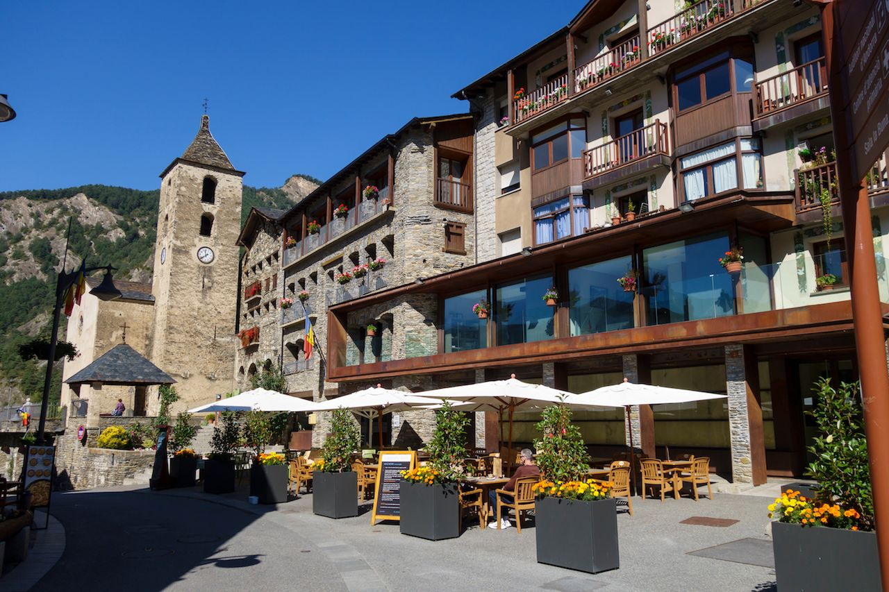 stone houses and church in Ordino, the most northerly parish in the Principality of Andorra