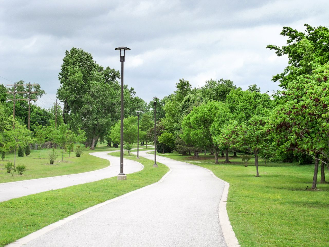 A walking path along the Arkansas River in Tulsa, Oklahoma