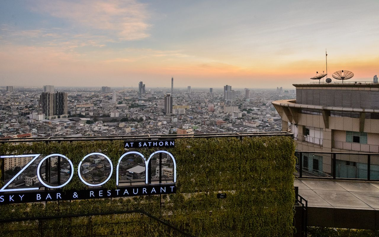 Anantara Hotel, Zoom Sky Bar and Restaurant in Bangkok at Sunset, Thailand