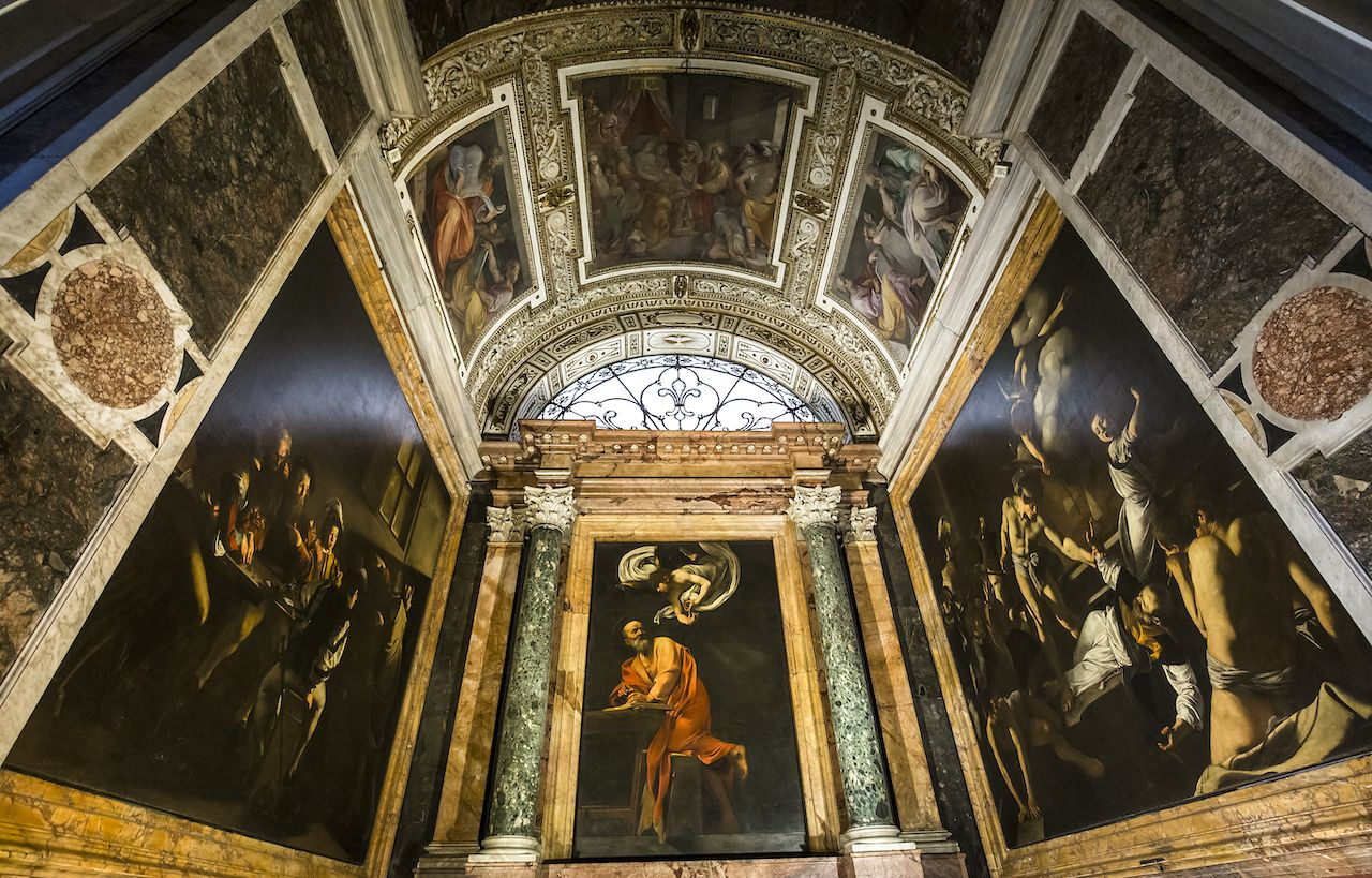 Caravaggio painting in the Church of San Luigi dei Francesi, Rome, Italy
