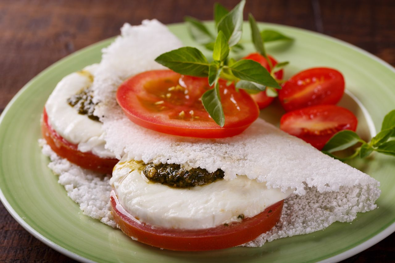Casava bread with tomatoes and mozzarella