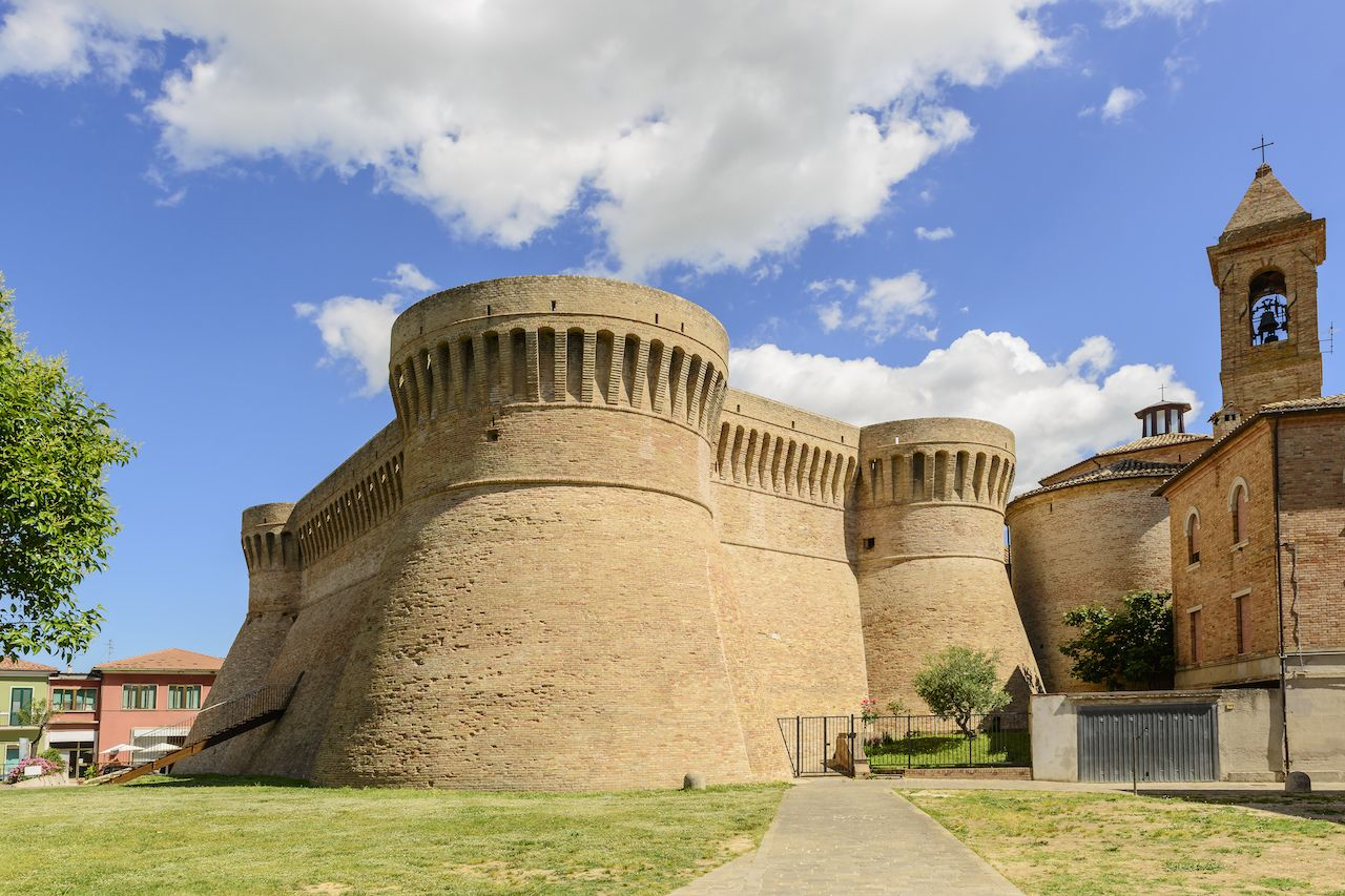 Castle in Urbisaglia town, Marche, Italy in summer