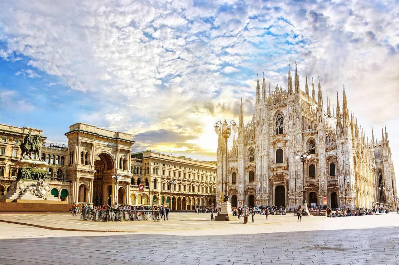 Cathedral Duomo di Milano and Vittorio Emanuele gallery Square Piazza Duomo at sunny morning, Milan, Italy