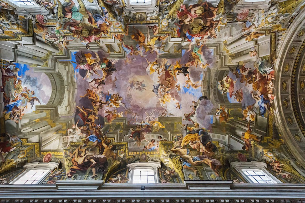 Ceiling in church of St. Ignatius of Loyola in Rome, Italy