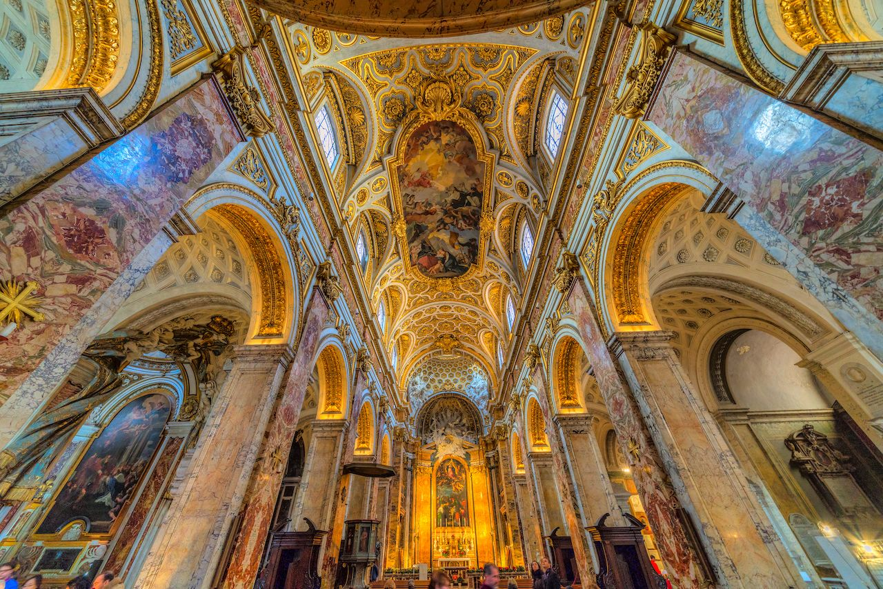 Ceiling view of the Church of San Luigi dei francesi, Rome, Italy