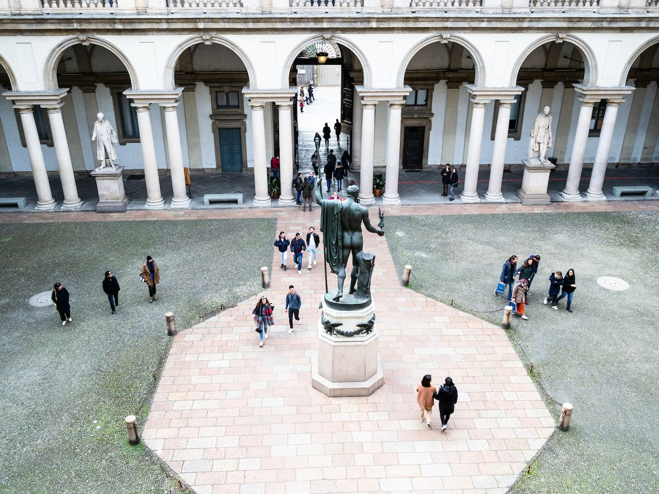 Courtyard of Onore courtyard of Palazzo Brera, House of Pinacoteca di Brera in Milan