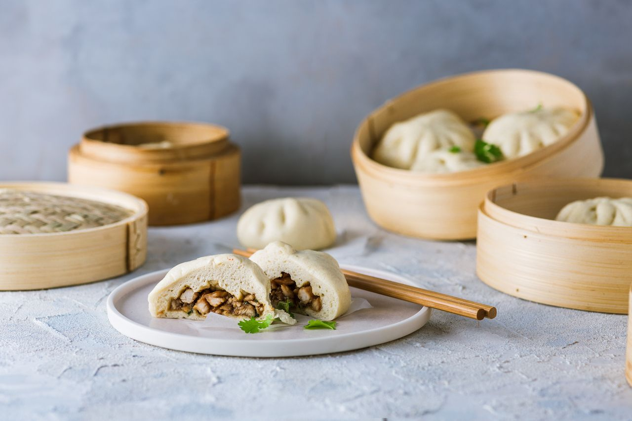Filipino steamed buns with chicken filling