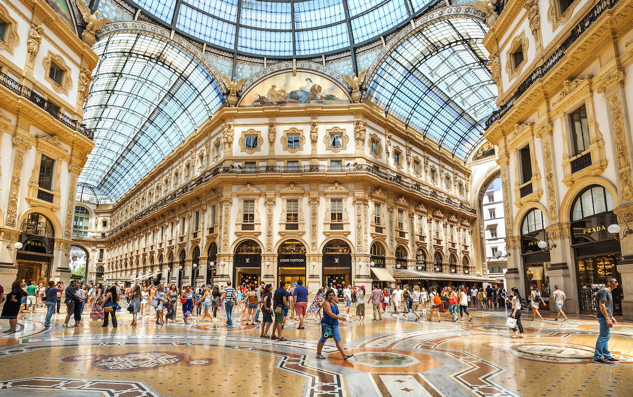 Galleria Vittorio Emanuele II is one of the most popular shopping areas in Milan