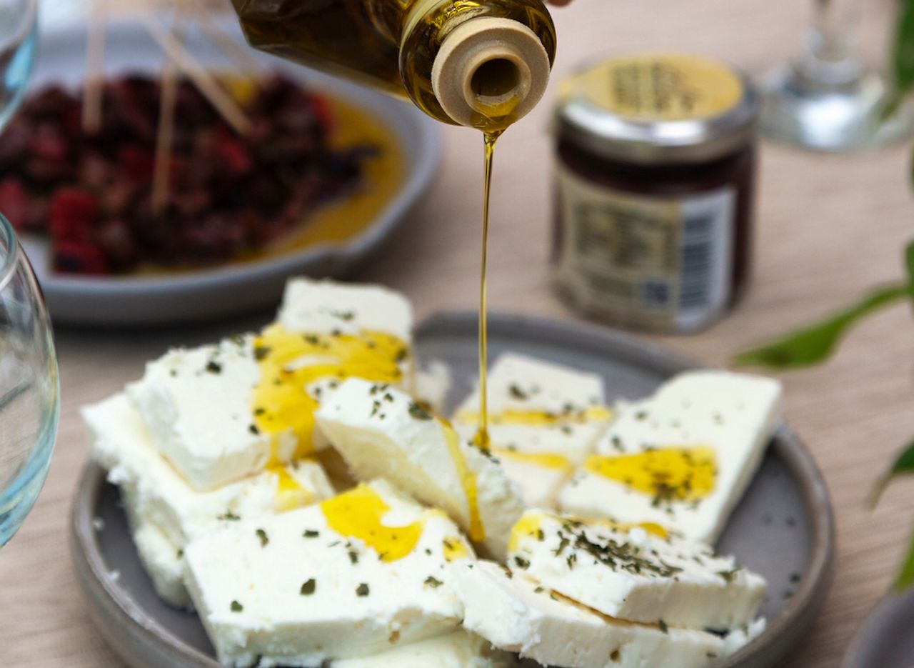 Greek feta cheese drizzled in olive oil