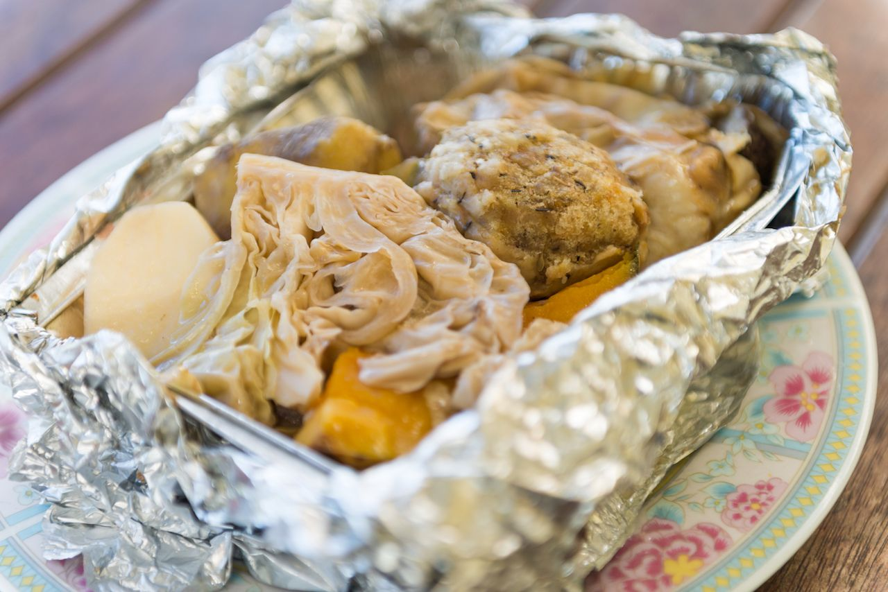 Hangi wrapped in tinfoil, a traditional New Zealand dish