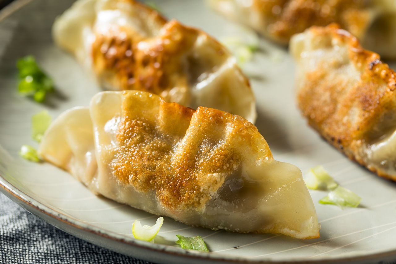 Homemade Korean mandu pork dumplings