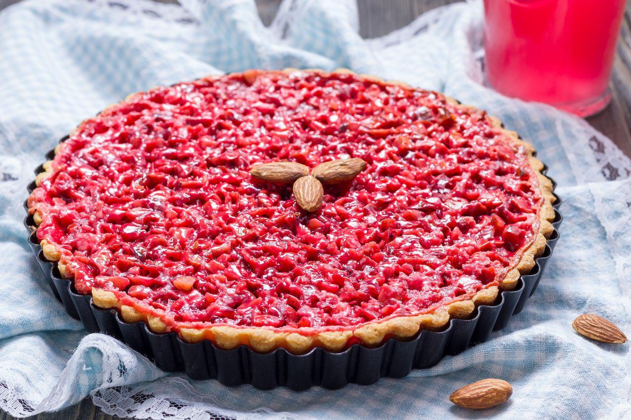 Homemade pink praline tart, almond tart