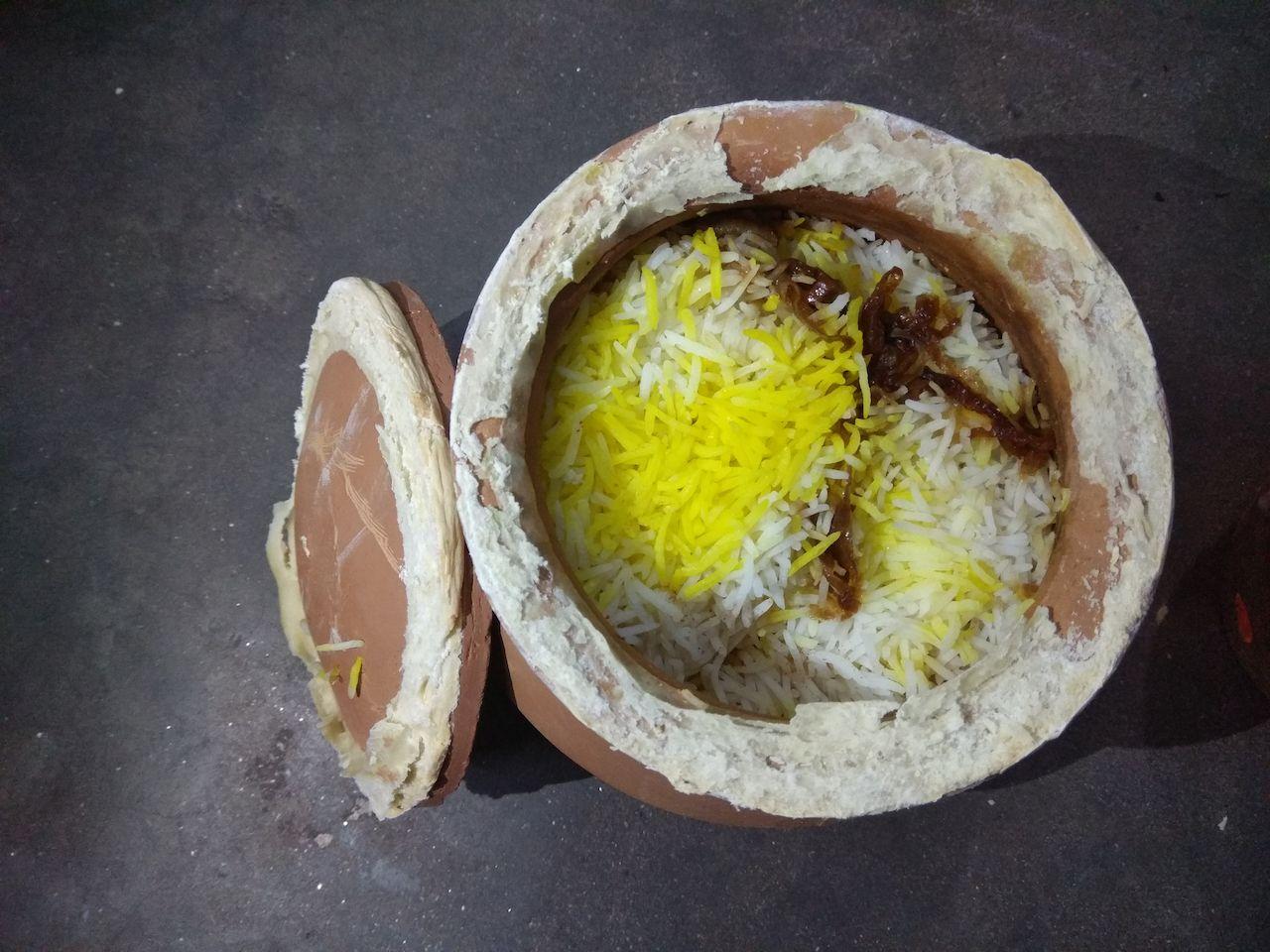 Hyderabadi biryani in a clay pot
