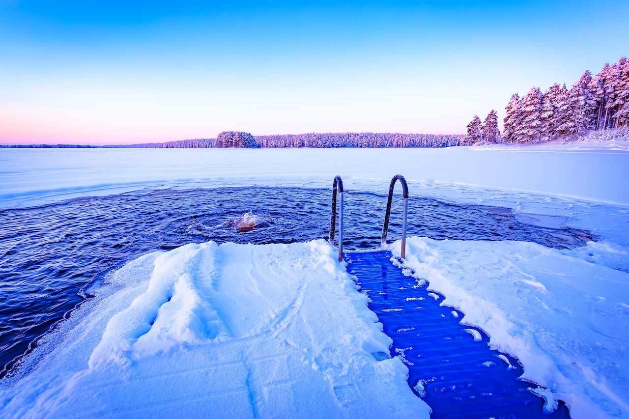 Ice swimming place from Kuhmo, Finland