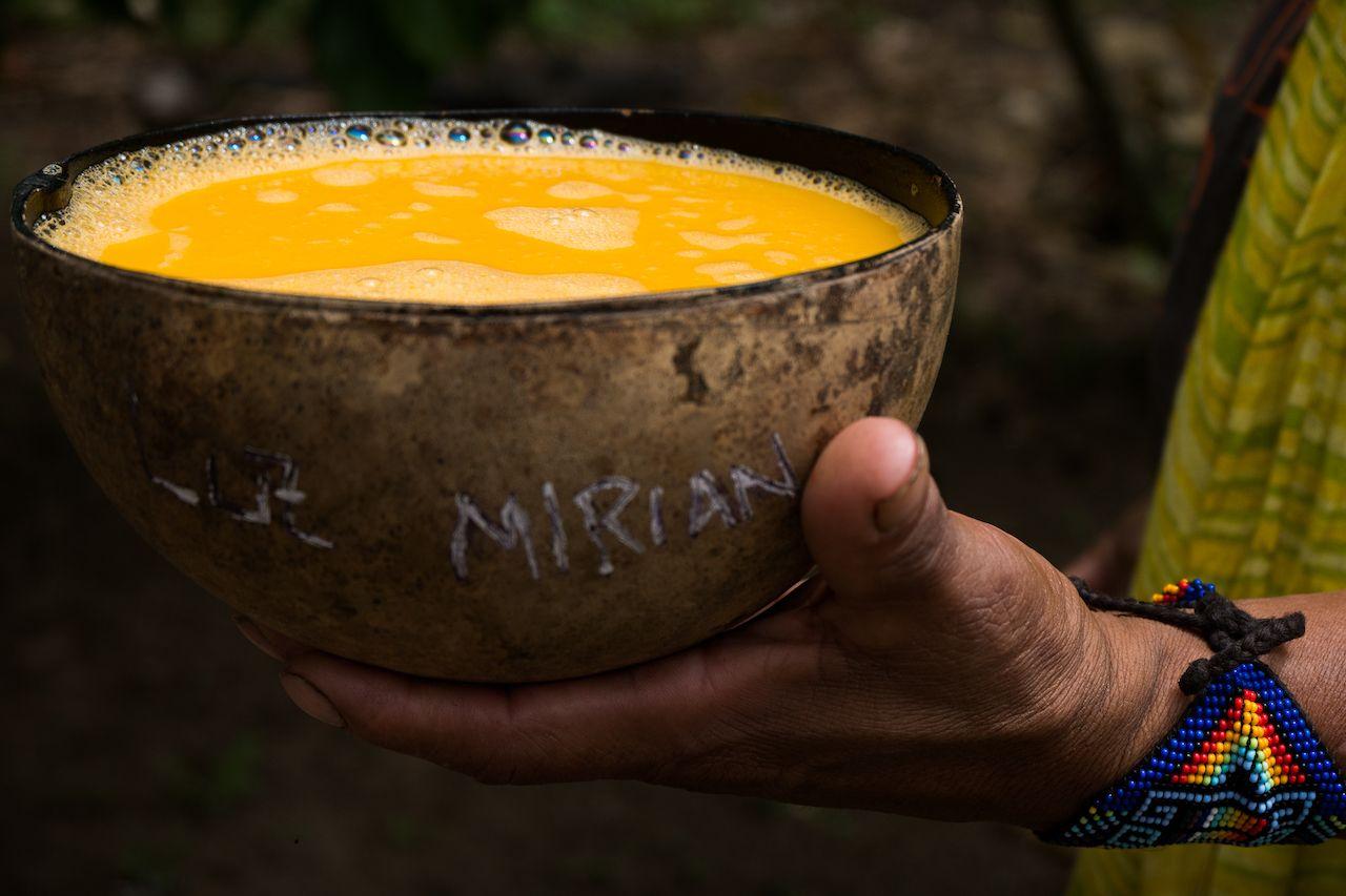 Indigenous traditional beverage called shisha made of an amazon fruit
