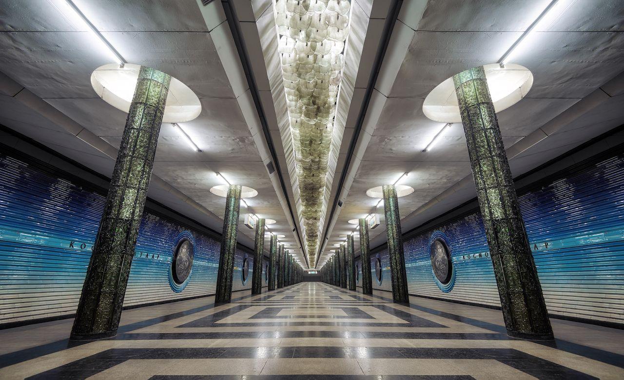 Inside a metro station in Tashkent