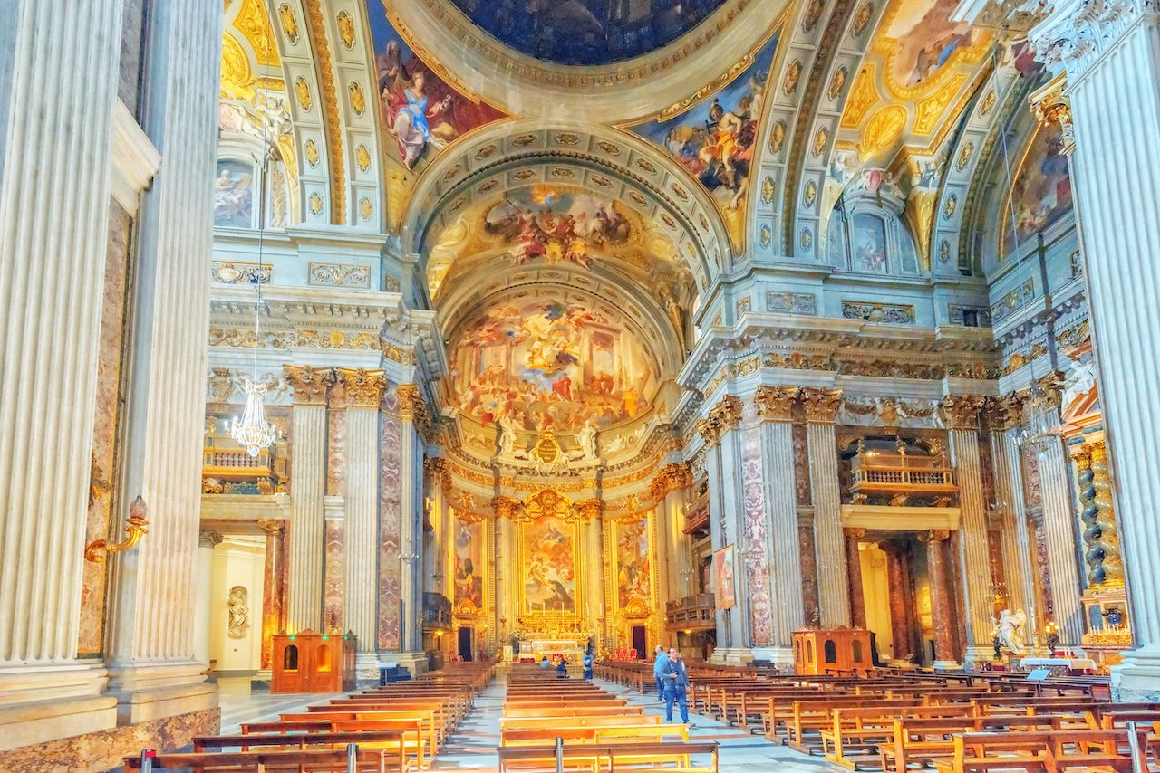 Inside the Church of St. Ignatius of Loyola Chiesa di Sant'Ignazio di Loyola in Rome, Italy