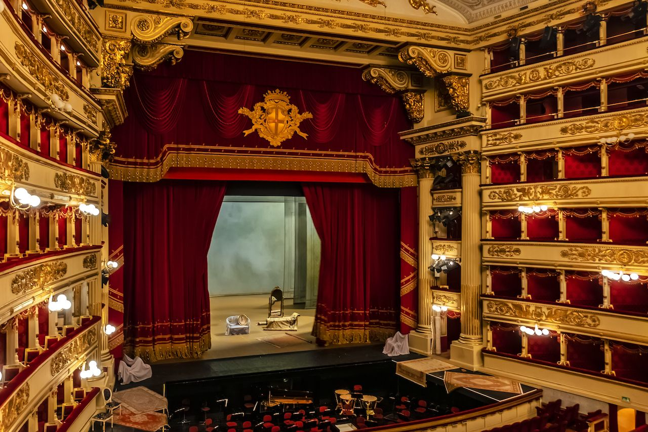 Interior of Main concert hall of Teatro alla Scala, an opera house in Milan