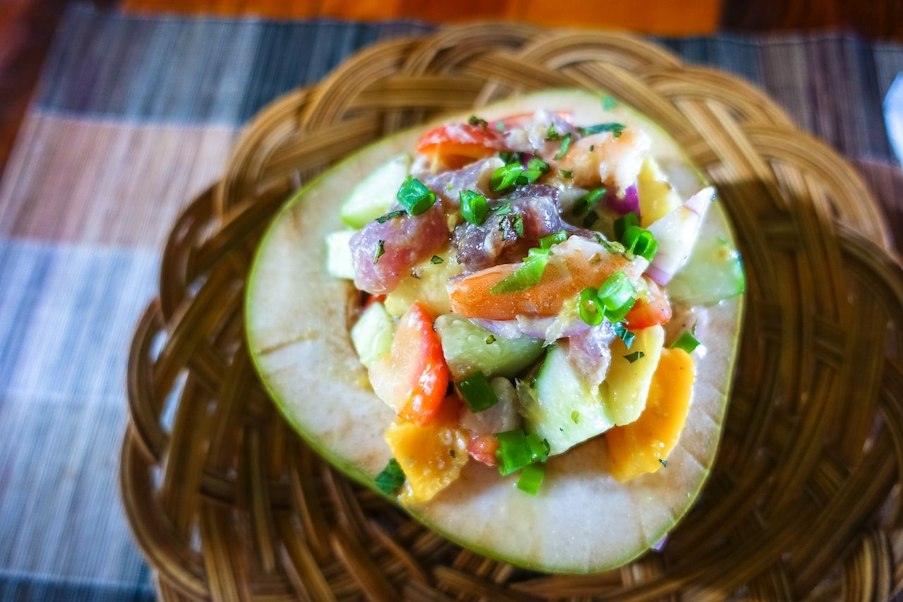 Kinilaw in Coconut Bowl, Raw Fish Filipino Dish like Ceviche