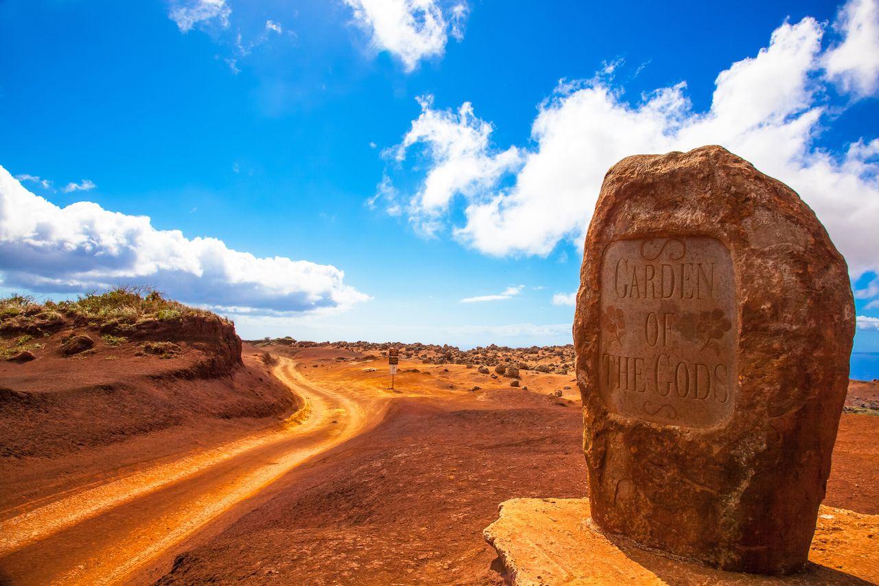 Lanai, Hawaii. Garden of the Gods. Dirt road and rock.