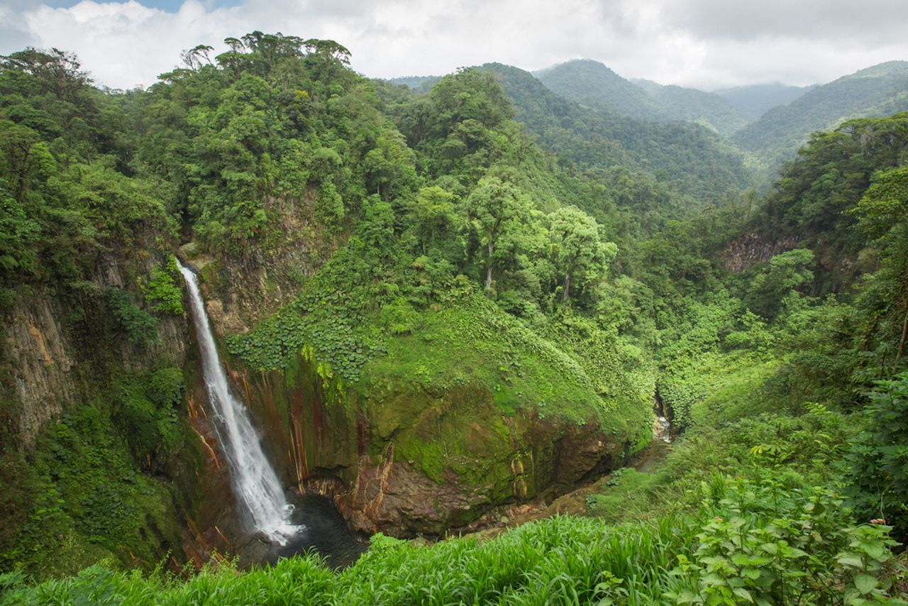 Lush Costa Rican landscape and waterfall