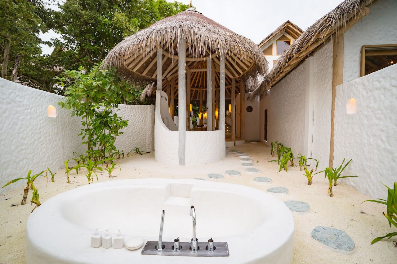 Luxury hotel outdoor bath and shower