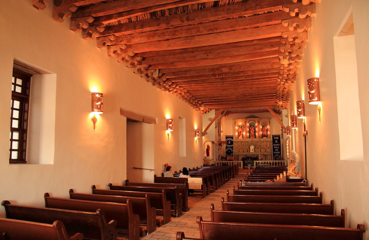 Mission Socorro, with its fine architectural interior, is one of the three historic missions along with the El Paso Mission Trail